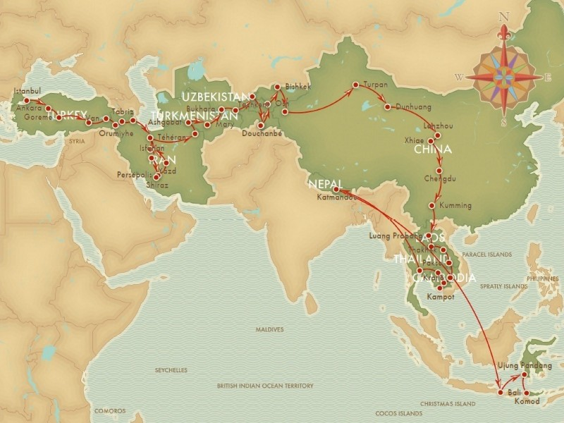 The map of our trip on the Silk Road 2011 Into the green